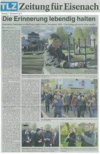 2013-11-11 Thüringer Landeszeitung TLZ - Gedenkmarsch zum 9 November mit 80vontausend
