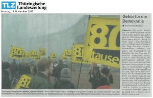 2013-11-18 - Thueringer Landszeitung TLZ – Bericht über den Marsch von der Wartburg – vom 18-11-2013
